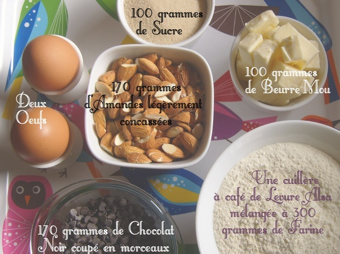 ingredients almond biscotti au chocolat